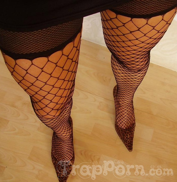 Crossdresser legs in stockings